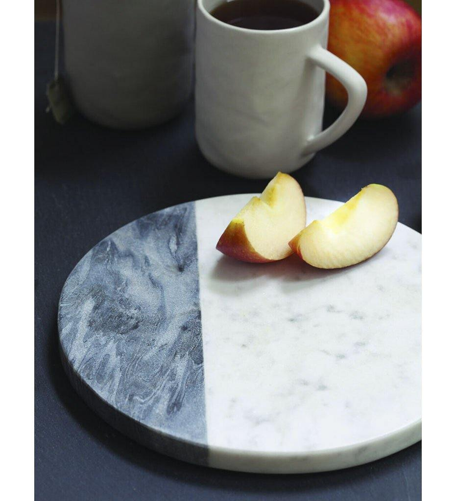 Be Home White & Gray Marble Round Board, Small