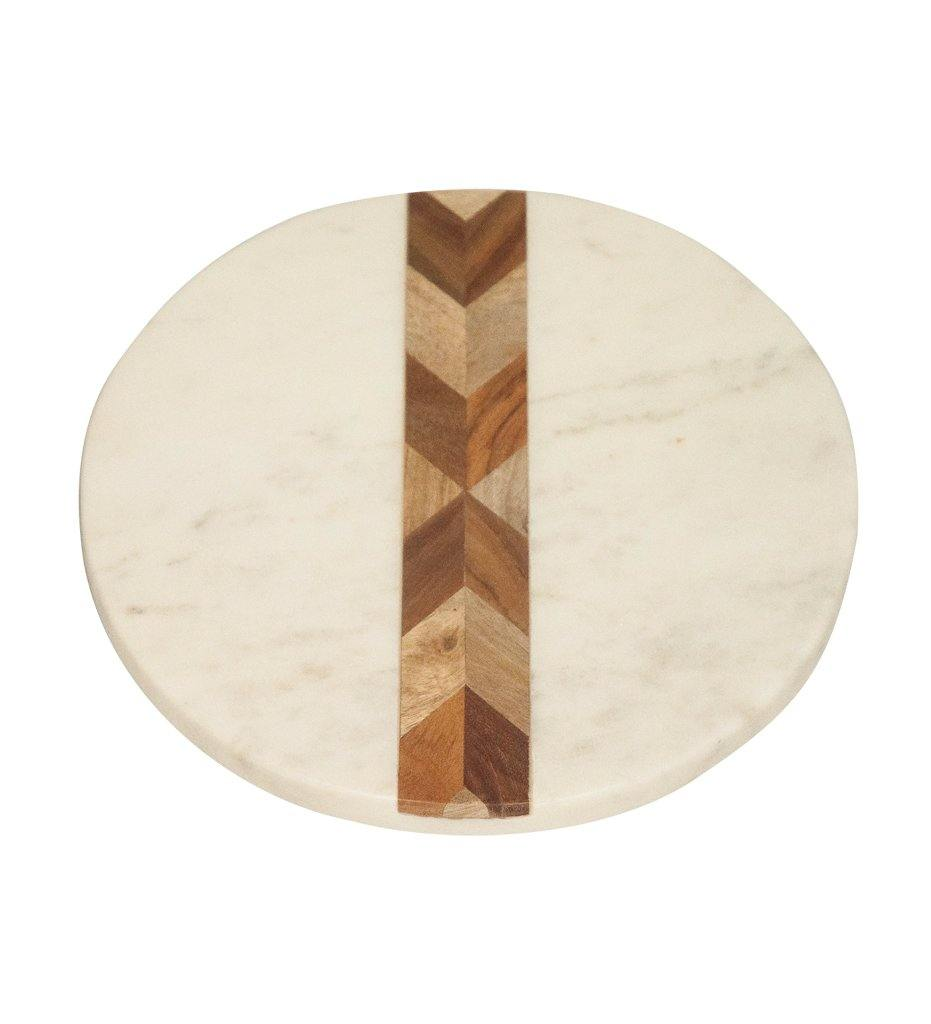 Be Home White Marble and Wood Mosaic Round Board