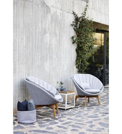 lifestyle, Cane-line Peacock Light Grey Rope Outdoor Lounge Chair with Teak Legs 5458ROLGT with Light Grey Cushions YSN96