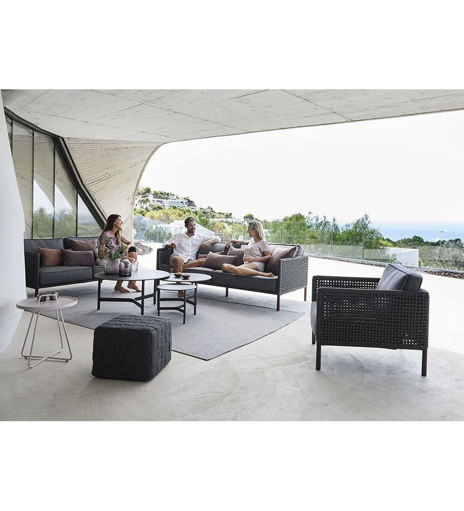 lifestyle, Cane-line Cube Footstool 8340RODG Outdoor Dark Grey Rope Ottoman