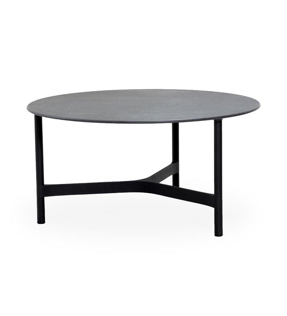 Cane-line Twist Large Coffee Table in Lava Grey Aluminum and Black Fossil Ceramic Top 5012AL P90COB