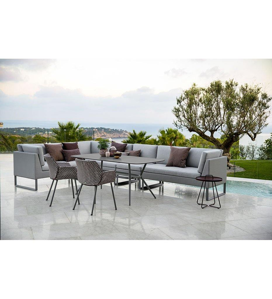Cane-line Joy Outdoor Rectangular Dining Table with Lava Grey Aluminum Base and Dark Grey Structure Top 50204AL P180X90HPSDG