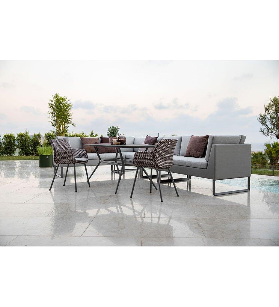 Cane-line Flex 2 Seater Outdoor Sofa Left with Grey Cushions 8563TXSG
