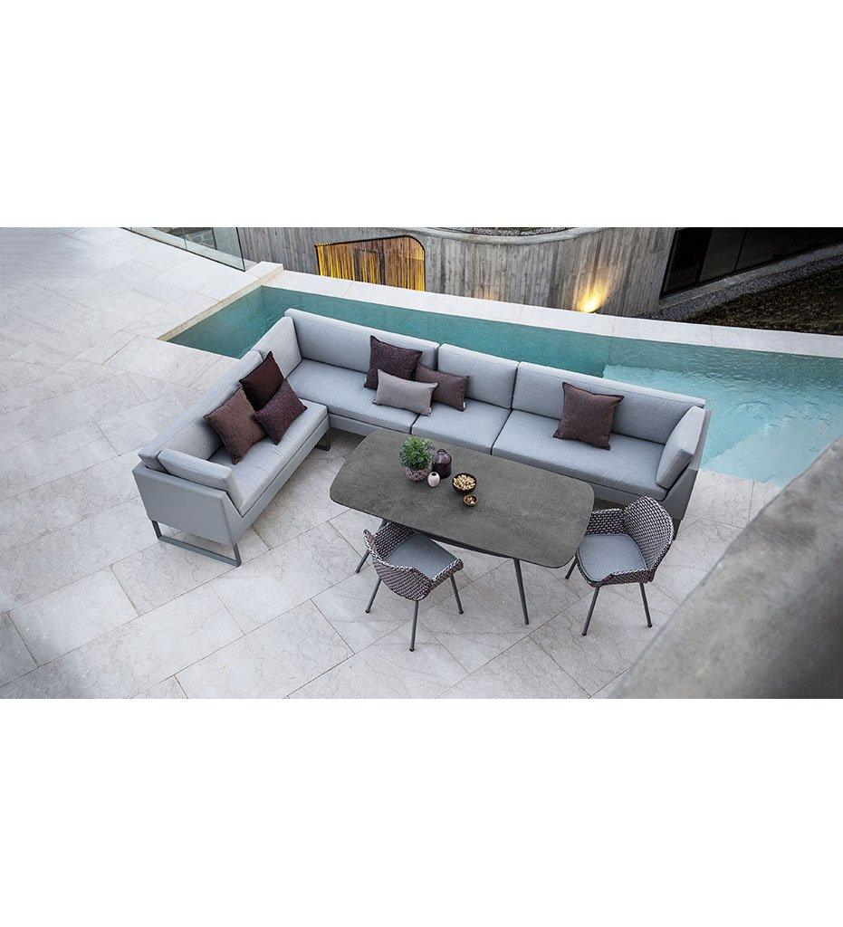 Cane-line Flex 2 Seater Outdoor Sofa - Right with Light Grey Cushions 8564TXSL