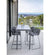 lifestyle, Cane-line Drop Outdoor Bar Table with Light Grey Aluminum Base and Grey Fossil Ceramic Top 50402AI P087COG