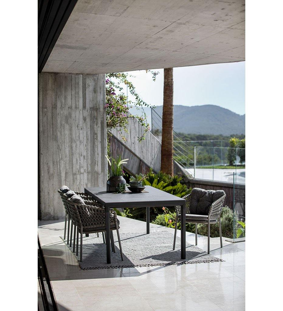 Cane-line Drop Outdoor Dining Table in Light Grey Aluminum Base and Grey Fossil Ceramic Top 50406AI P091COG