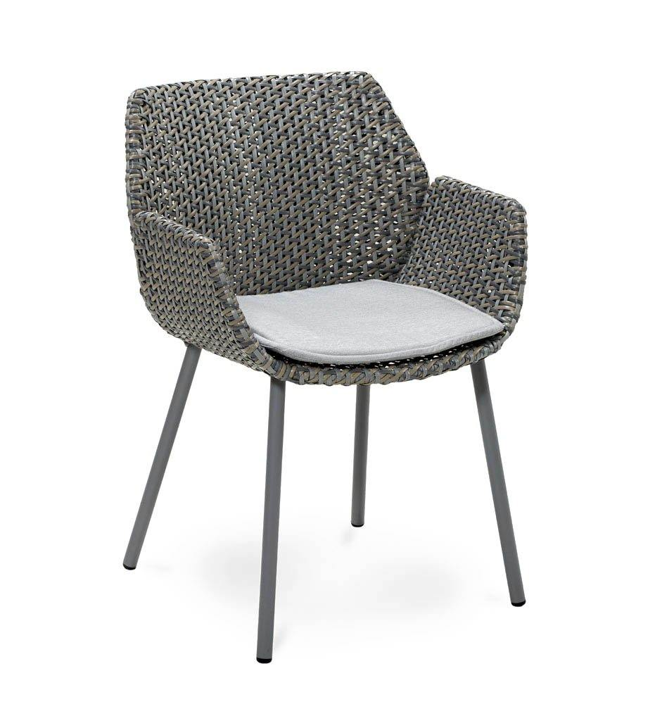 Cane-line Vibe Outdoor Dining Arm Chair in Light Grey, Grey, Taupe All Weather Weave with Light Grey Cushion 5406AIIGT  YSN96