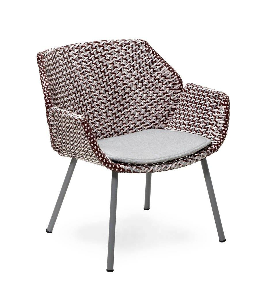 Cane-line Vibe Outdoor Lounge Chair in Light Grey, Bordeaux, and Dusty Rose All Weather Weave with Light Grey Cushion 5407AIIBRDR YSN96