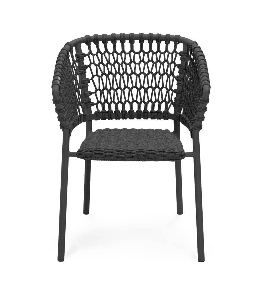 Cane-line Ocean Outdoor Dining Arm Chair with Dark Grey Rope 5417RODG