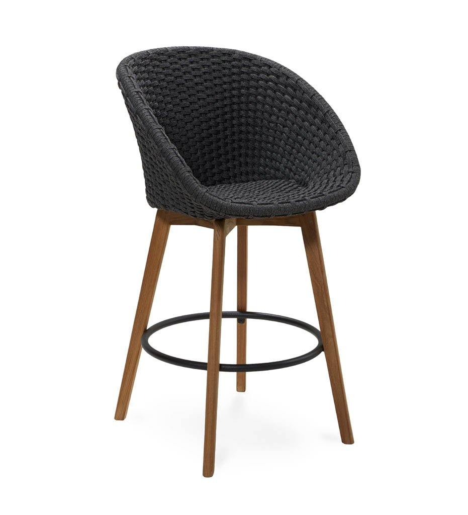 Cane-line Peacock Outdoor Bar Stool in Dark Grey Rope and Teak Legs 5455RODGT