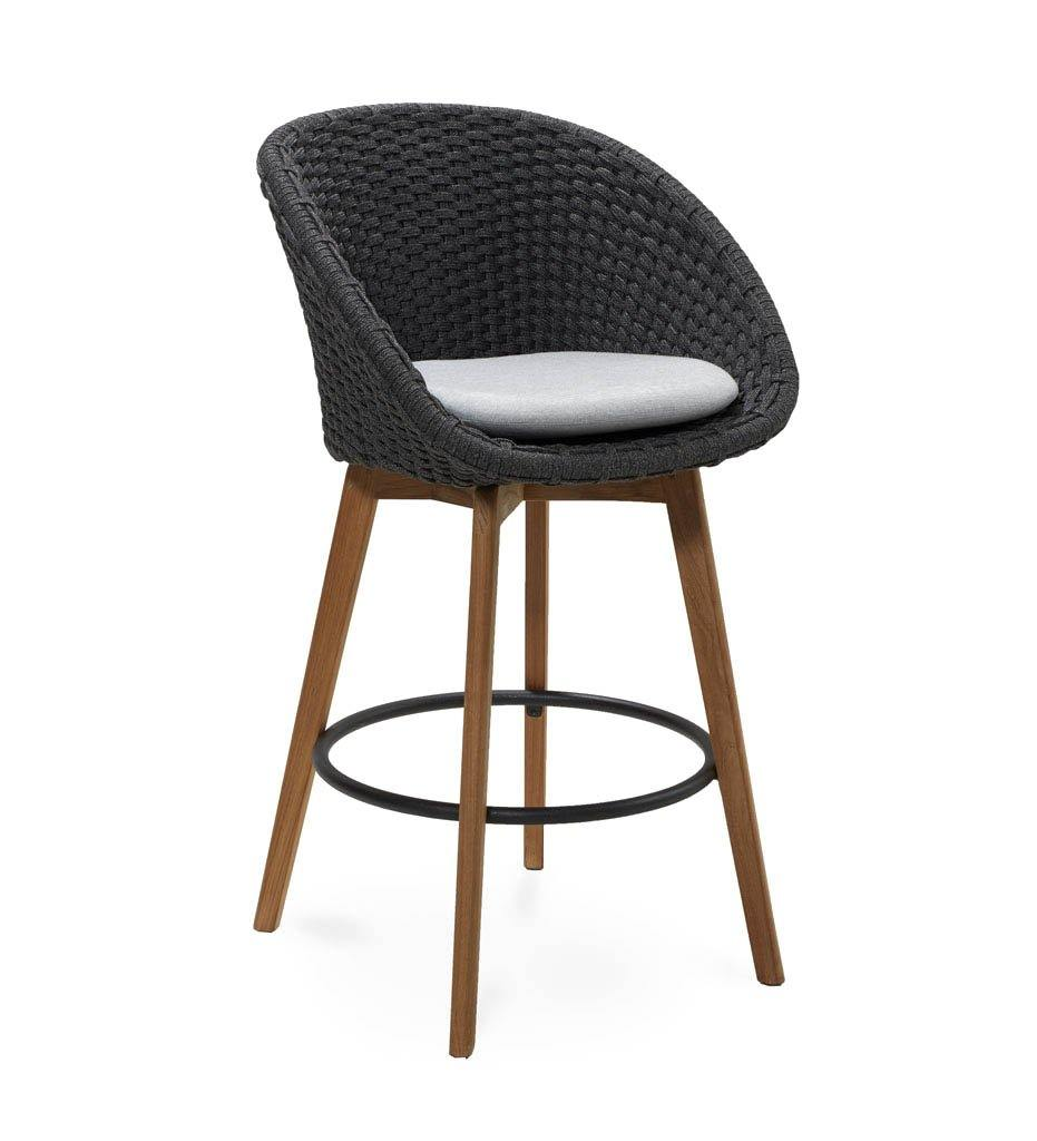 Cane-line Peacock Outdoor Bar Stool in Dark Grey Rope, Teak Legs and Light Grey Cushion 5455RODGT YSN96