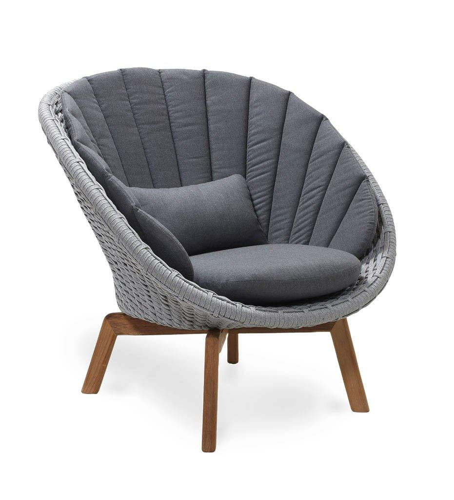 Cane-line Peacock Light Grey Rope Outdoor Lounge Chair with Teak Legs 5458ROLGT with Grey Cushions YSN95