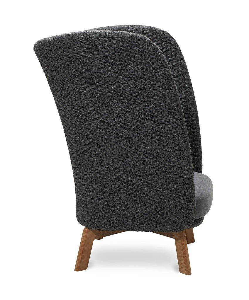 Cane-line Peacock Highback Lounge Chair with Dark Grey Rope, Teak Legs, and Grey Cushions  5460RODGT YSN95
