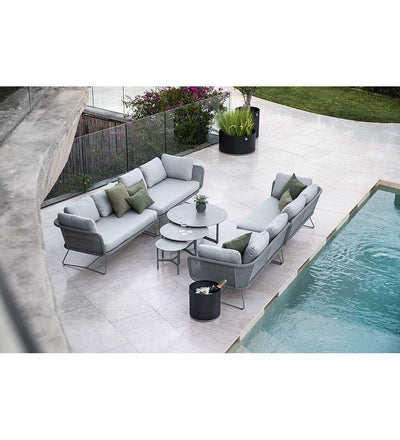 lifestyle, Cane-line Horizon Outdoor 2 Seater Sofa Sectional Right Arm with Light Grey All Weather Weave and Light Grey Cushions 125506LISL