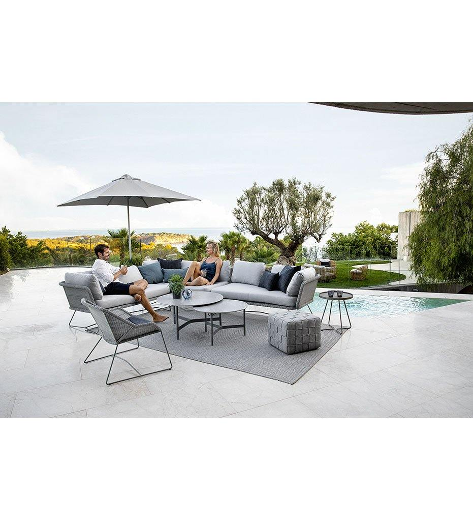 lifestyle, Cane-line Cube Footstool 8340ROLG Outdoor Light Grey Rope Ottoman