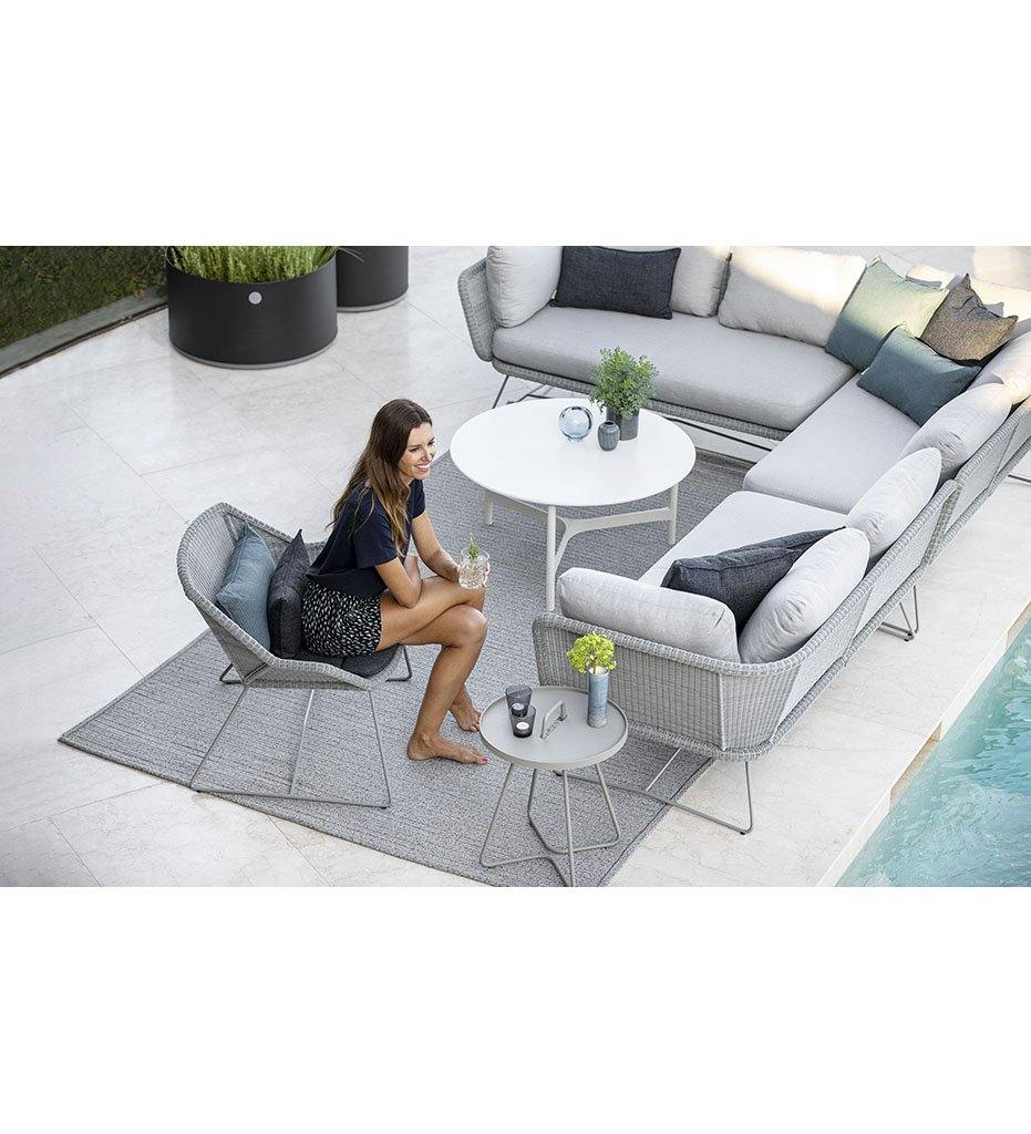 Cane-line Horizon Outdoor 2 Seater Sofa Sectional Left Arm with Light Grey All Weather Weave and Light Grey Cushions 125505LISL