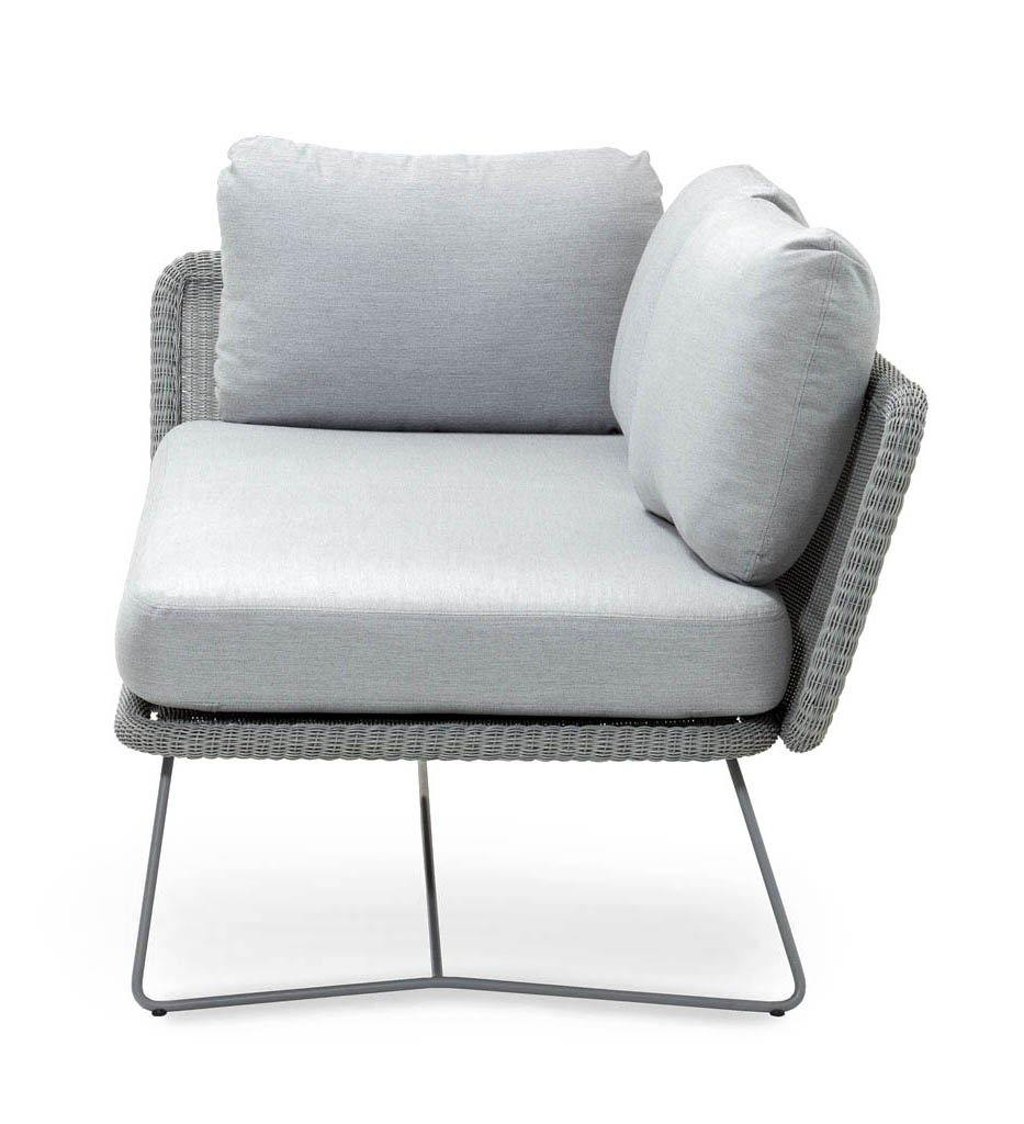 Cane-line Horizon Outdoor 2 Seater Sofa Sectional Right Arm with Light Grey All Weather Weave and Light Grey Cushions 125506LISL