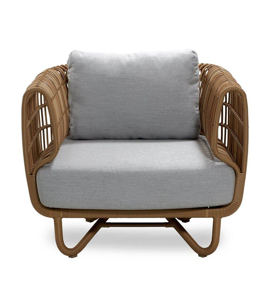 Cane-line Nest Outdoor Lounge Chair in Natural All Weather Rattan Weave and Light Grey Cushions 57421USL