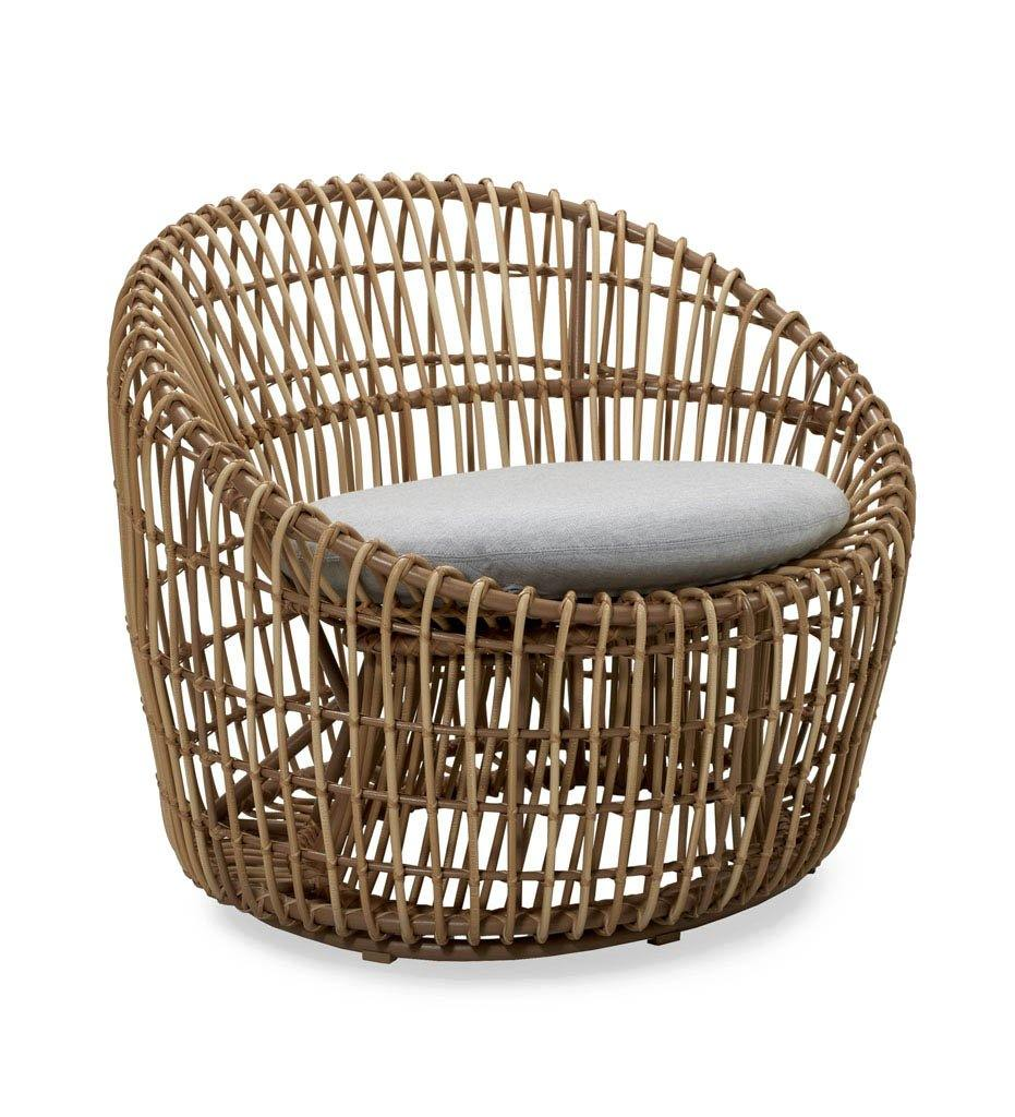 Cane-line Nest Outdoor Round Lounge Chair in All Weather Natural Rattan and Light Grey Cushion 57422USL