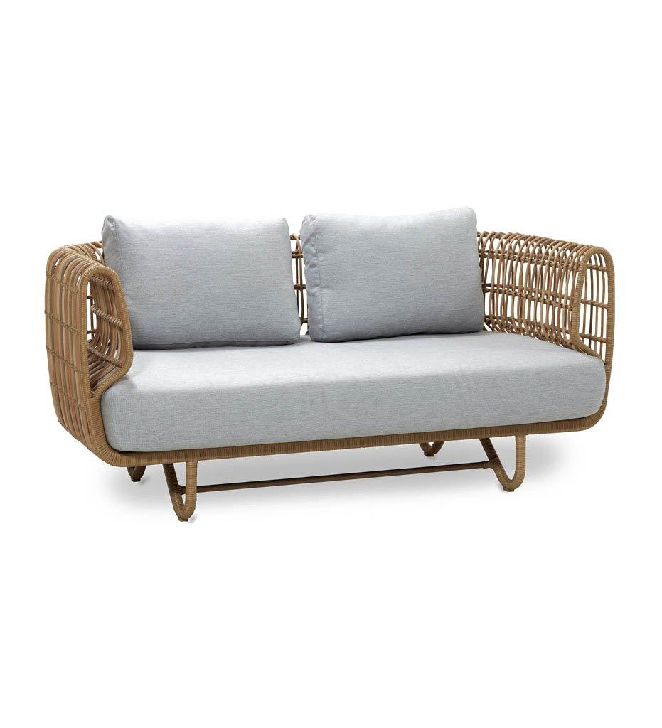 Cane-line Nest 2 Seater Outdoor Sofa in All Weather Natural Rattan and Light Grey Cushions 57522USL