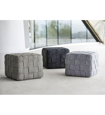 lifestyle, Cane-line Cube Footstool Outdoor Rope Ottoman