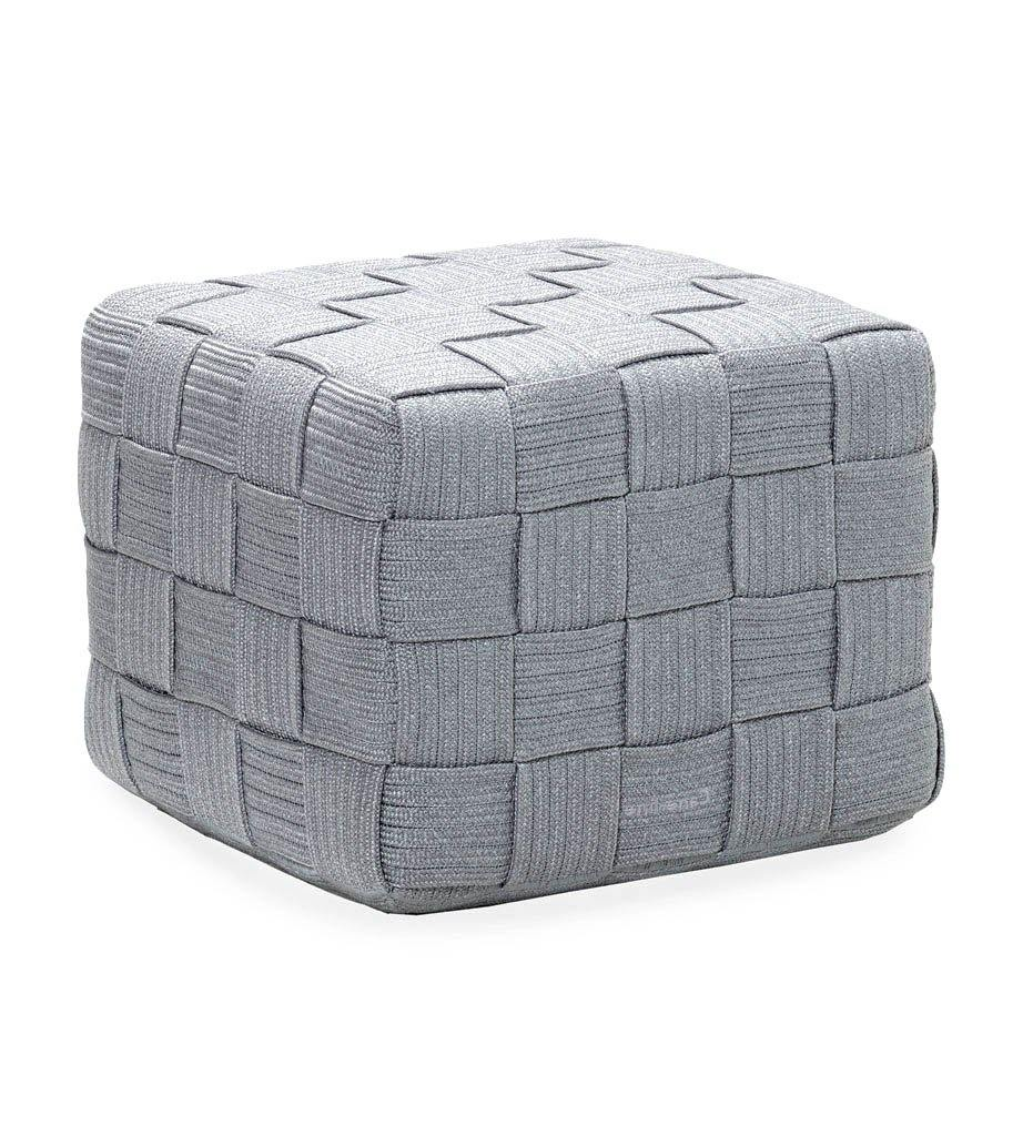 Cane-line Cube Footstool 8340ROLG Outdoor Light Grey Rope Ottoman