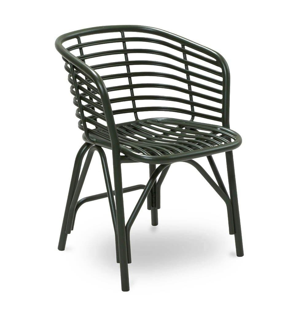 Cane-line Blend Outdoor Dining Arm Chair in Dark Green Aluminum 57430ADG