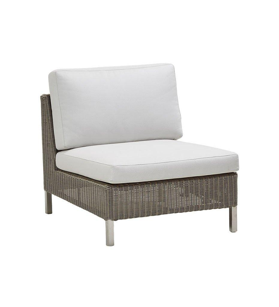Cane-line Connect Single Seater Outdoor Sectional Unit in Taupe All Weather Weave and White Cushions 5498T YS94