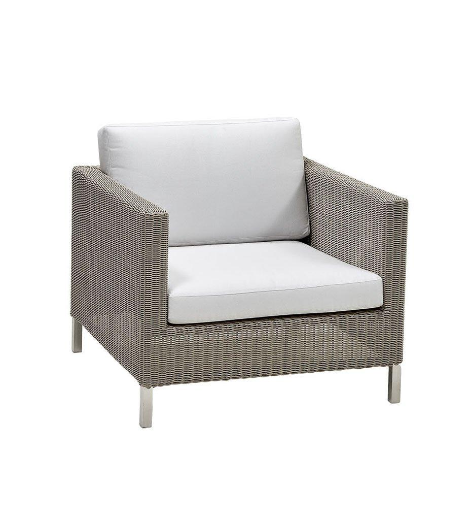 Cane-line Connect Outdoor Lounge Chair in Taupe All Weather Weave and White Cushions 5499T YS94