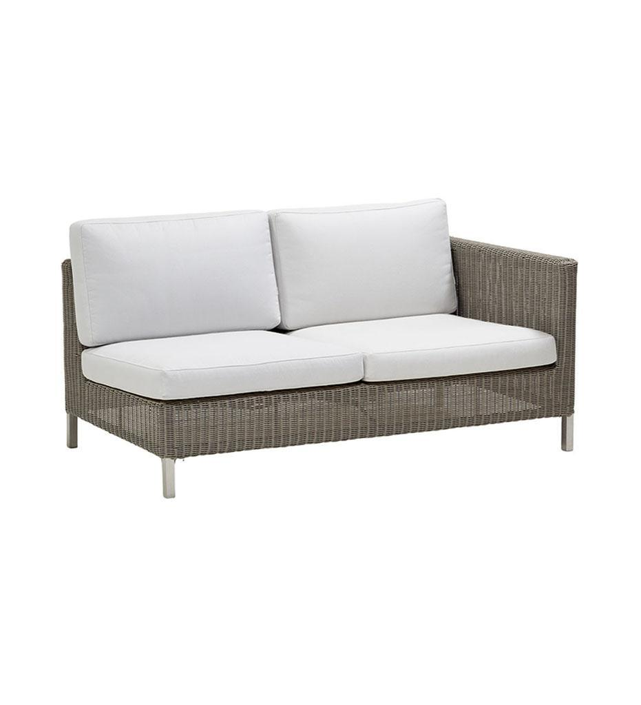 Cane-line Connect 2-Seater Outdoor Sectional Sofa - Left in Taupe All Weather Weave with White Cushions 55943T YS94
