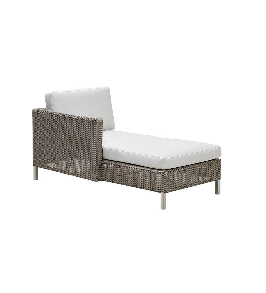 Cane-line Connect Outdoor Chaise - Right in Taupe All Weather Weave and White Cushions 5596T YS94