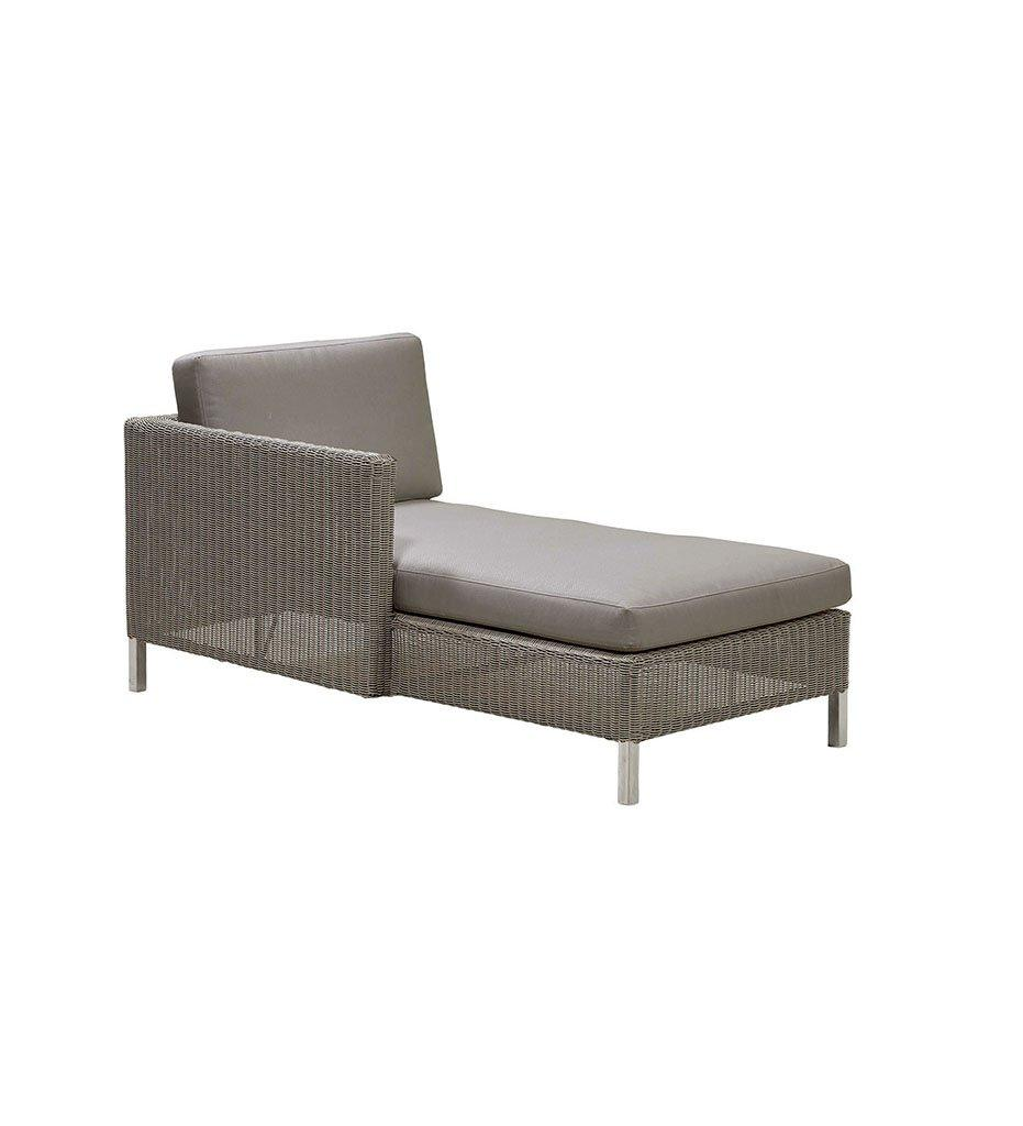 Cane-line Connect Outdoor Chaise - Right in Taupe All Weather Weave and Taupe Cushions 5596T YS97