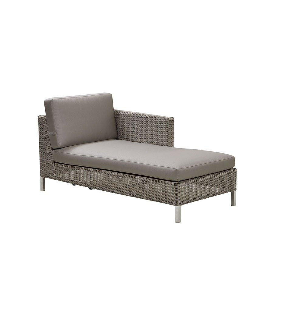 Cane-line Connect Outdoor Chaise - Left in Taupe All Weather Weave and White Cushions 5597T YS94