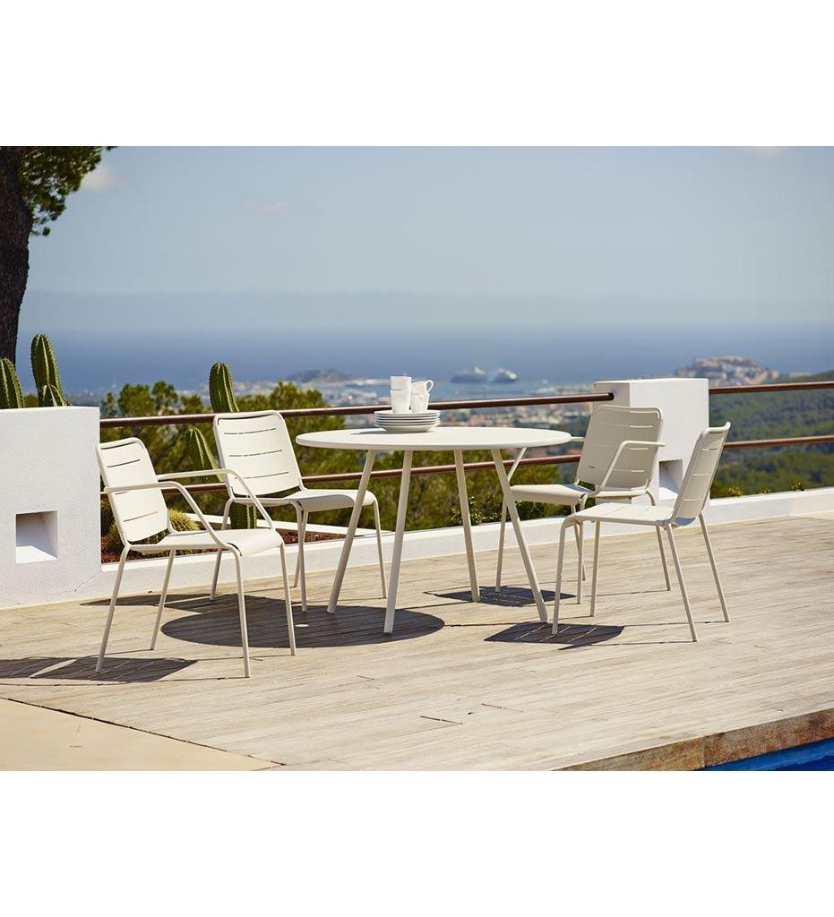 Cane-line Copenhagen Arm Chair in White Aluminum 11441AW