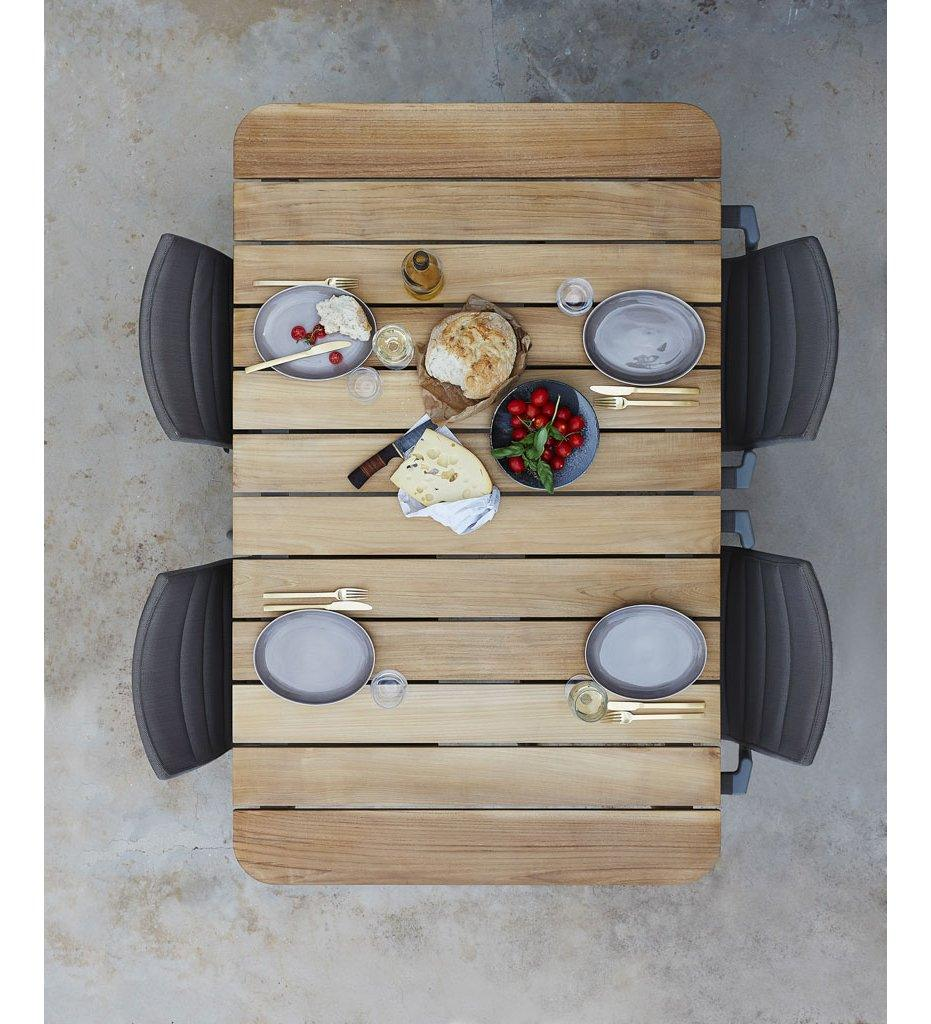 Cane-line Core Outdoor Dining Table - Small 5027 Teak and Lava Grey Aluminum