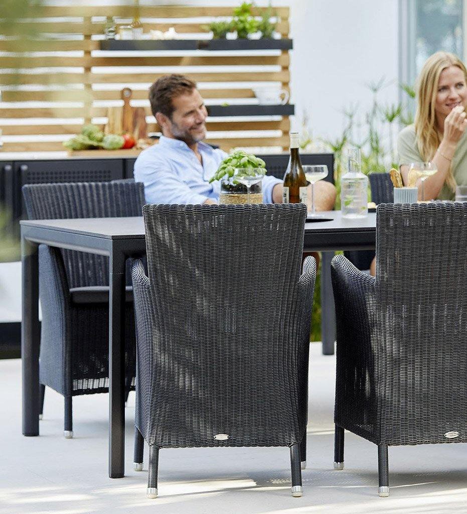 Cane-line Drop Outdoor Dining Table in Lava Grey Aluminum Base and Black Fossil Ceramic Top 50403AL P0403COB