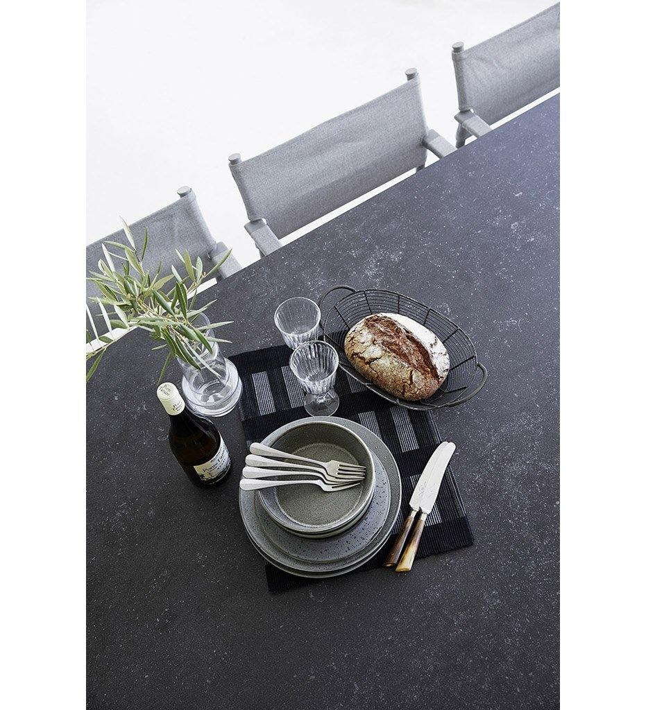 Cane-line Drop Outdoor Extension Dining Table in Light Grey Aluminum Base and Grey Fossil Ceramic Top 50407AI P091COG