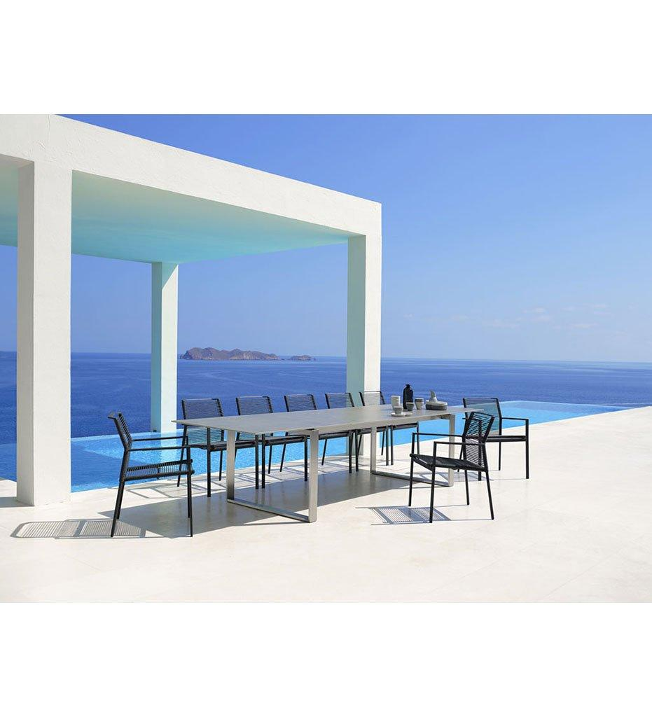 Cane-line Edge Extension Stainless Steel Base Outdoor Dining Table with Concrete Grey Ceramic Top 5032ST P032CB