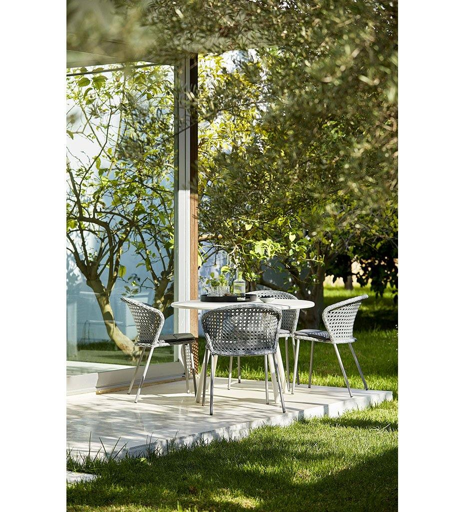 Cane-line Lean Outdoor Dining Chair - Light Grey French Weave All Weather Wicker Rattan 5410FAI