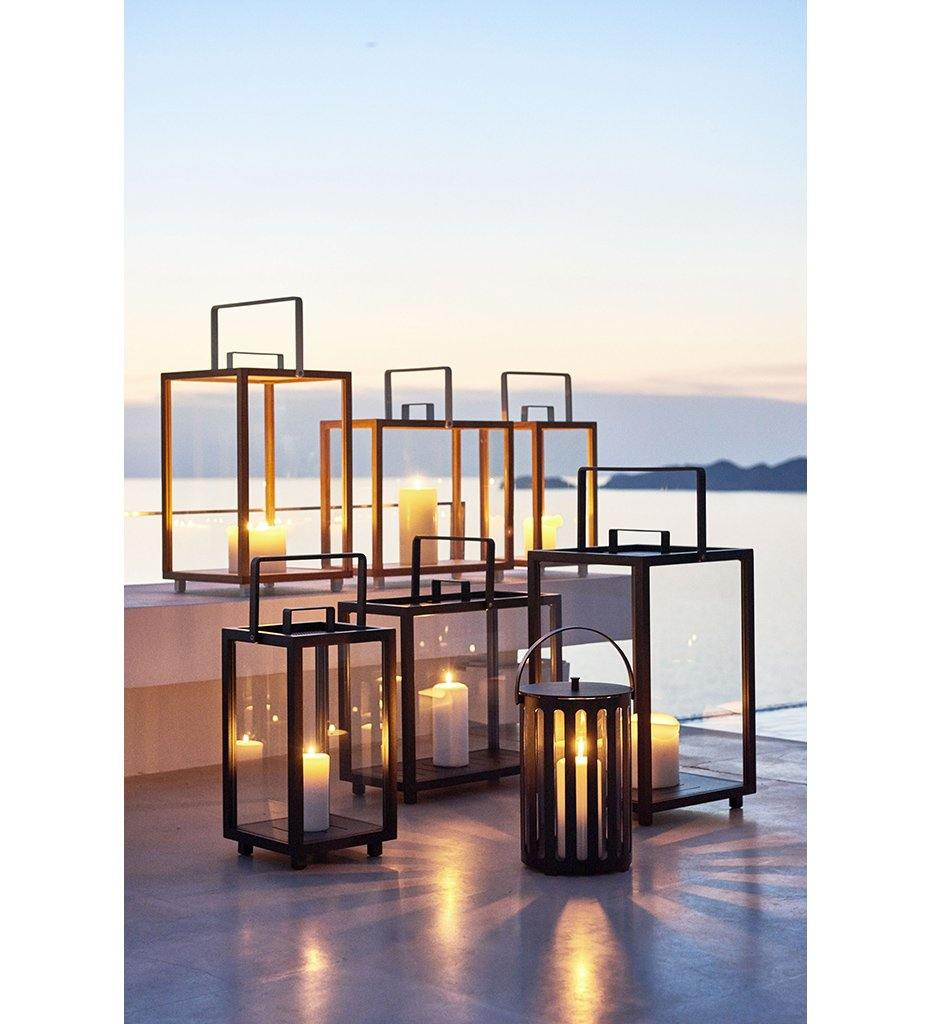 Cane-line Lighthouse Outdoor Lava Grey Aluminum and Teak Rectangular Lantern 5726TAL