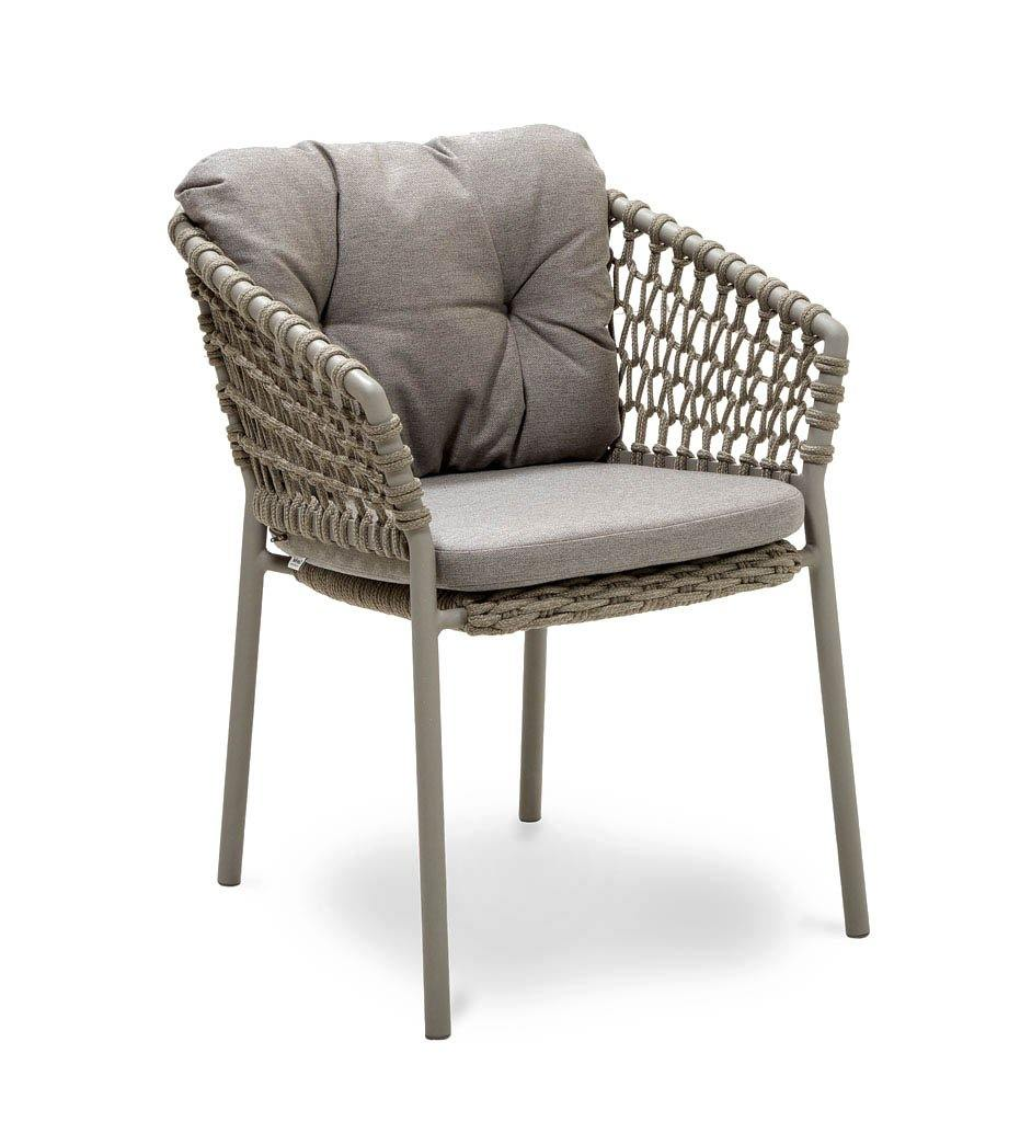 Cane-line Ocean Outdoor Dining Arm Chair with Taupe Rope and Taupe Cushions 5417ROT YSN97