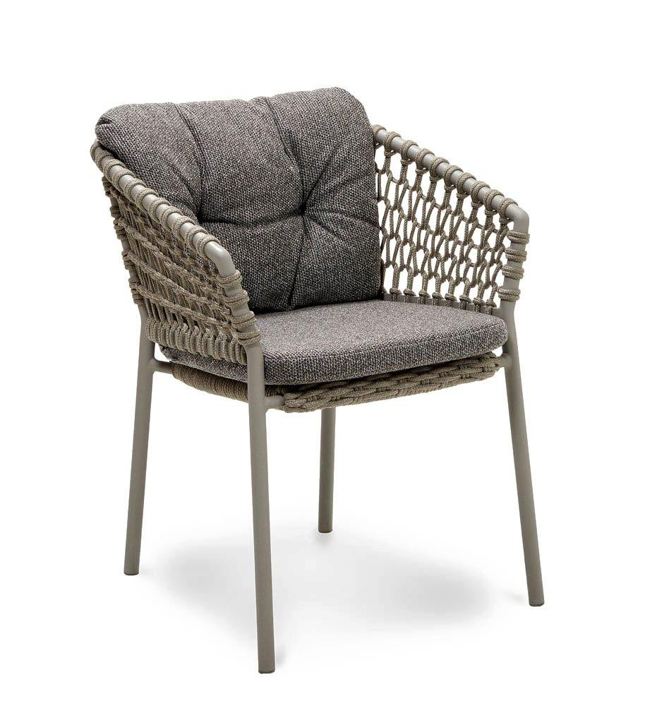 Cane-line Ocean Outdoor Dining Arm Chair with Taupe Rope and Dark Grey Wove Cushions 5417ROT YN115