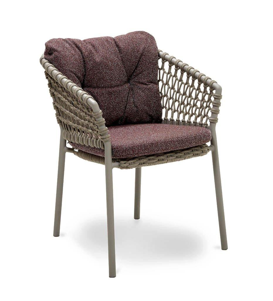 Cane-line Ocean Outdoor Dining Arm Chair with Taupe Rope and Dark Bordeaux Wove Cushions 5417ROT YN113