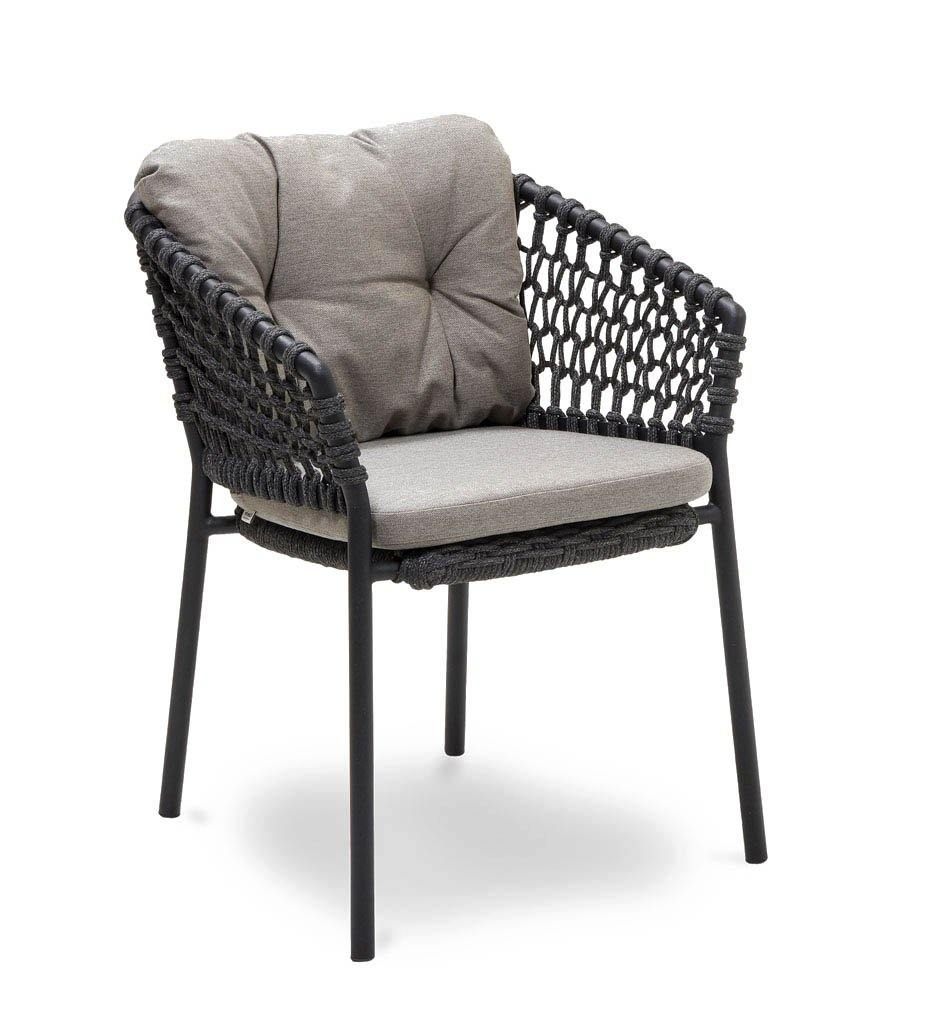 Cane-line Ocean Outdoor Dining Arm Chair with Dark Grey Rope and Taupe Cushions 5417RODG YSN97