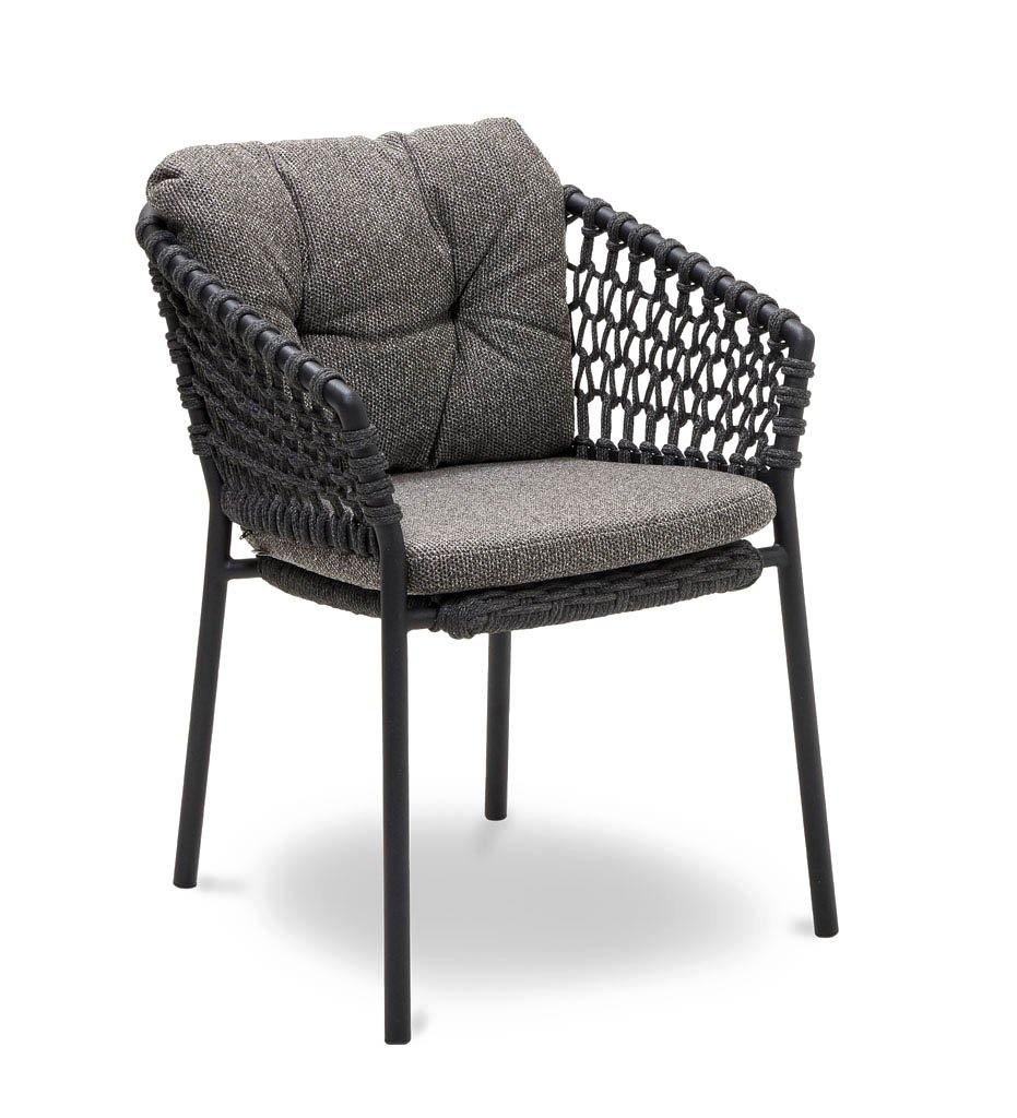 Cane-line Ocean Outdoor Dining Arm Chair with Dark Grey Rope and Dark Grey Wove Cushions 5417RODG YN115