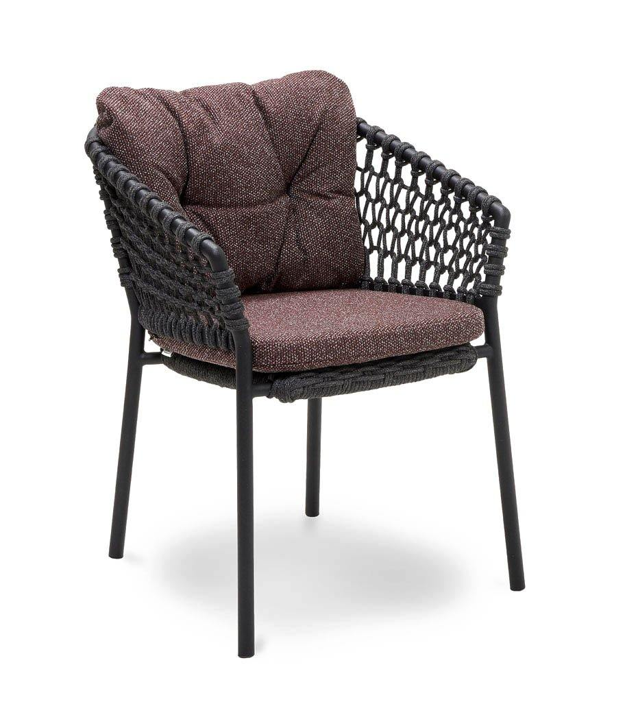 Cane-line Ocean Outdoor Dining Arm Chair with Dark Grey Rope and Dark Bordeaux Wove Cushions 5417RODG YN113