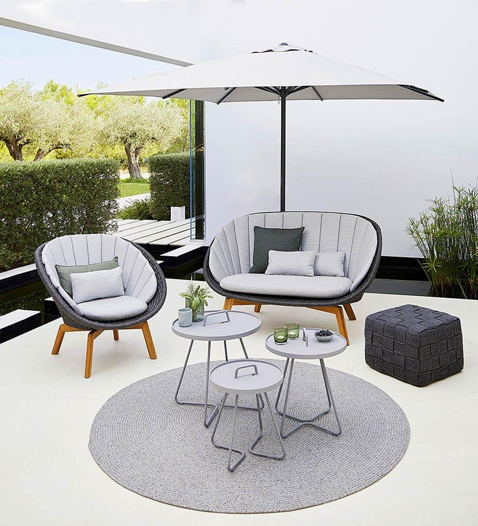 Cane-line Peacock Grey Rope Outdoor Lounge Chair with Teak Legs 5458RODGT with Light Grey Cushions YSN96