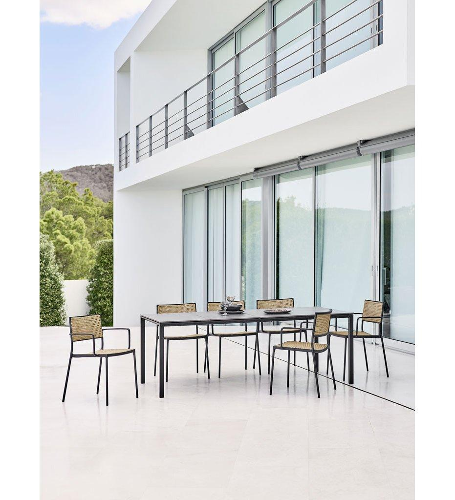 Cane-line Pure Outdoor Rectangular Dining Table with Lava Grey Aluminum Base and Basalt Grey Top 5085AL P091CA