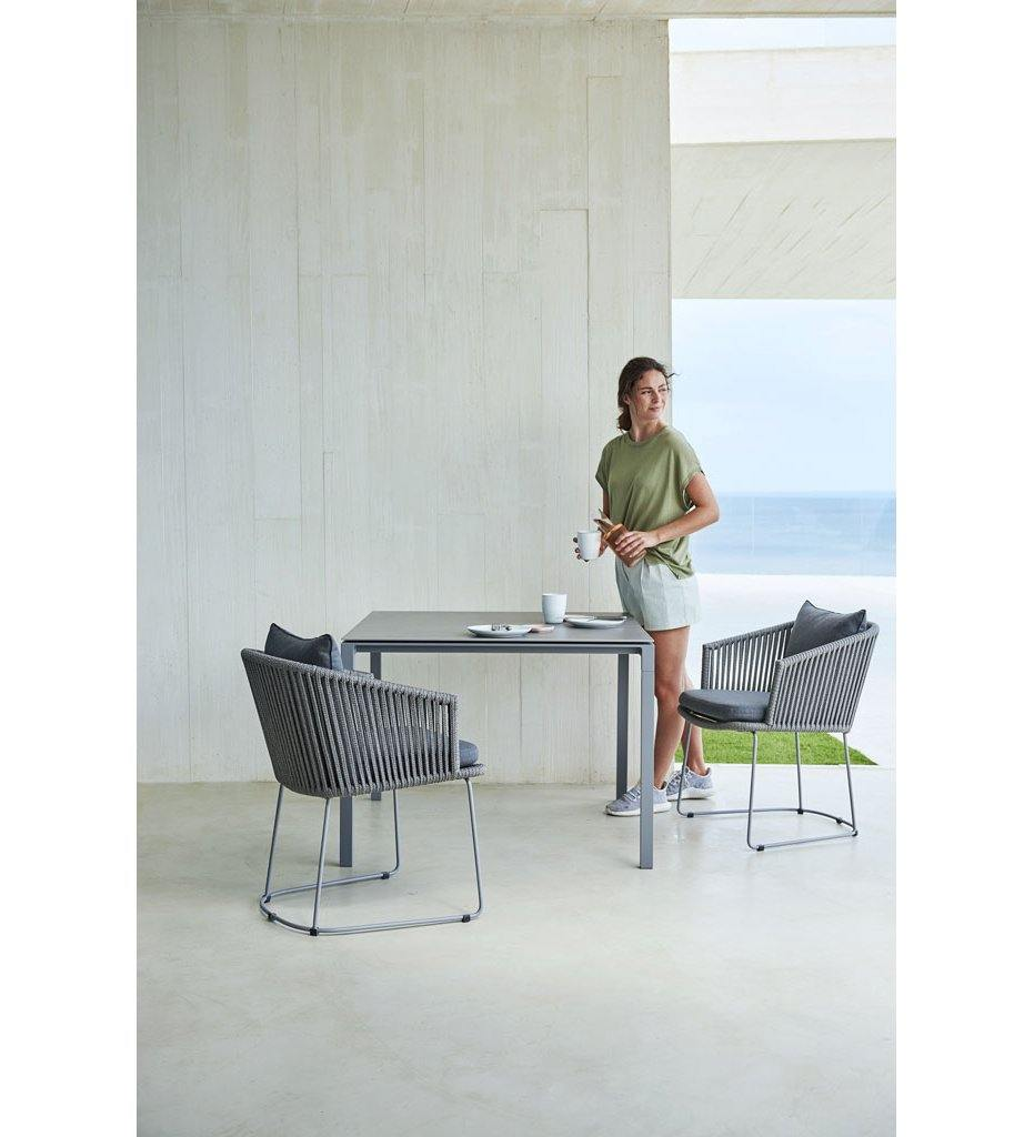 Cane-line Pure Outdoor Square Lava Grey Aluminum Dining Table 5088AL with Basalt Grey Top P088CA