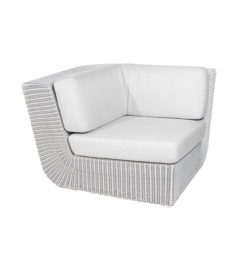 Cane-line Savannah White Outdoor Corner Sectional  with White Cushions 5538W YS94